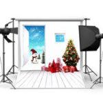 New 5x7FT Vinyl Christmas Tree Snowman Photography Backdrop Background Studio Prop