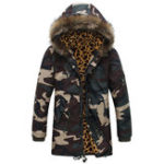 New Men Camo Mid Long Drawstring Pockets Furry Hood Thick Jacket