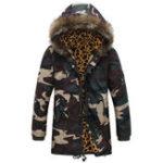 New Men Camo Mid Long Drawstring Pockets Furry Hood Thick Jacket