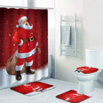 New Home Decoration Santa Claus 3D Chrismas Shower Curtain For The Bathroom Waterproof Fabric Polyester Kids Bath Curtain 12 Hooks