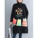 New Cartoon Print High Collar Fleece Thick Sweatershirt Dress
