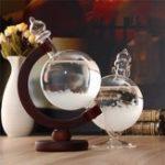 New Christmas Gift Weather Forecast Crystal Bottle Globe Storm Home Desk Decor Wood Glass Base Novelties Toys