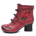 New Vintage Embroidered Zipper Ankle Short Boots