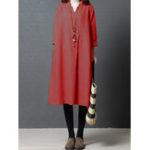 New Womens Solid Button V Neck Long Cotton Shirt Dress
