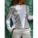New Women Patchwork O-neck Long Sleeve Sweatshirt