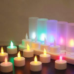 New 12PCS Rechargeable Colorful Flameless Flickering Tea Candle Light + Holder UK Plug AC220V
