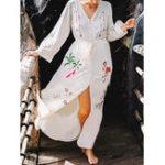 New Women Button Down Long Sleeve Boho Maxi Dress