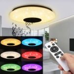 New Modern 60W RGB LED Ceiling Light Bluetooth Music Speaker Lamp Remote APP Control