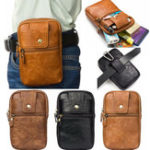 New Men Genuine Leather Double Zipper Waist Bag Crossbody Bag