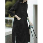 New Women 3/4 Sleeve Button Pockets Loose Shirt Dres