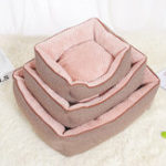 New Cotton Linen Corn Kernels Pet Dog Cat Bed for Small Medium Bed House Cushion With Removable Pet Mat Nest
