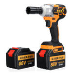 New 88V 15000mAh Cordless Brushless Electric Impact Wrench W/ 2 Batteries Woodworking Power Tool