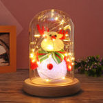 New Glass Dome Bell Jar Cloche Display Wooden Base With Fairy LED Light Decorations Christmas Gift