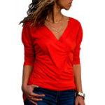 New Women V-neck Pleated T-shirts