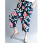 New Women Vintage Floral Print Baggy Harem Trousers Pants