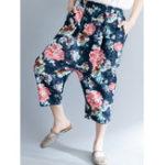 New Women Vintage Floral Print Baggy Harem Trousers Pants