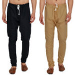 New Mens Elastic Waist Comfy Cotton Solid Color Casual Pants