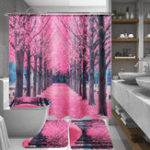 New Sakura Floral Waterproof Bathroom Shower Curtain Seat Lid Cover Bath Mat Hook