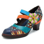 New SOCOFY Stitching Bohemian Pattern Hook Loop Pumps