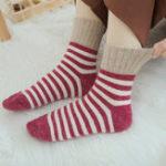 New Women Stripe Artificial Rabbit Hair Thicken Winter Warm Sock