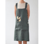 New Women Japanese Style Cotton Apron Dress with Pockets