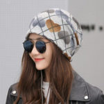 New Women Vintage Multi-purpose Plaid Earmuffs Beanie Cap Scarf