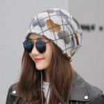 New Women Vintage Multi-purpose Plaid Earmuffs Beanie Cap Scarf