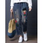 New Cartoon Embroidery Hollow Drawstring Waist Denim Jeans