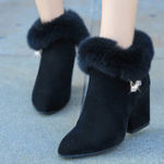 New Women Chunky Heel Suede Lining Warm Ankle Boots