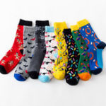New Unisex Multi Color Pattern Print Middle Tube Socks