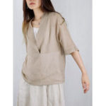 New Plus Size Brief V-neck Half Sleeve Women Blouse with Pocket