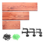 New 3Pcs 40+60+80cm Wooden Board Shelves Wall Mount Floating Shelf Display Bracket Waterproof Decor