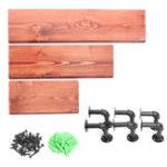 New 3Pcs 40+60+80cm Wooden Board Shelves Wall Mount Floating Shelf Display Bracket Waterproof Decor