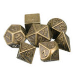 New 7pcs Embossed Heavy Metal Polyhedral Dices RPG Multisided Dices Set With Bag