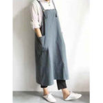 New Women Cotton Linen Solid Color Strap Apron Dress with Pocket