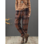New Plus Size Vintage Plaid Elastic Waist Harem Pants