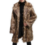 New Mens Winter Warm Mid Long Large Lapel Collar Faux Fur Coat
