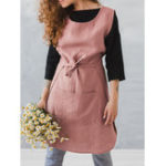 New Sleeveless Pocket Cotton Solid Vintage Apron Dress
