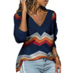 New Women Stripe V Neck Long Sleeve T-shirts