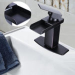 New Oil Rubbed Square Faucet Bathroom Single Tap Basin Waterfall Spout Sink Mixer