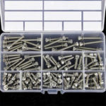 New 100Pcs M4 Hex Socket Knurled Cap Head Screw 304 Stainless Steel Bolt Assortment Set