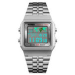 New SKMEI 1338 Men Stainless Steel Digital Watch