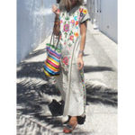 New Plus Size Boho V-neck Short Sleeve Women Maxi Dress
