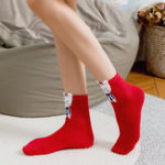 New 4 Pair Women Christmas Cotton Cute Cartoon Socks