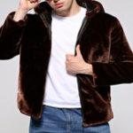New Mens Winter Warm Hooded Zipper Faux Fur Coat Jacket