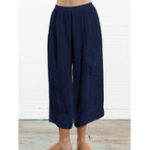 New Women Solid Color Cotton Elastic Waist Loose Wide Leg Pants