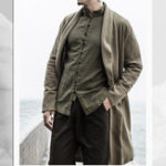 New Vintage Chinese Style Cotton Shawl Collar Mid Long Coat