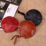 New Mini Genuine Leather Round Coin Bag Cowhide Wallet