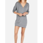 New Women Casual Solid Color Long Sleeve V-Neck Mini Dress