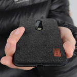 New Bakeey Luxury Fabric Splice Soft Silicone Edge Shockproof Protective Case For OnePlus 6T 1+6T
